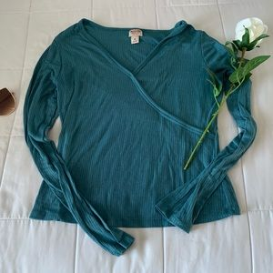 MOSSIMO: teal long sleeve shirt